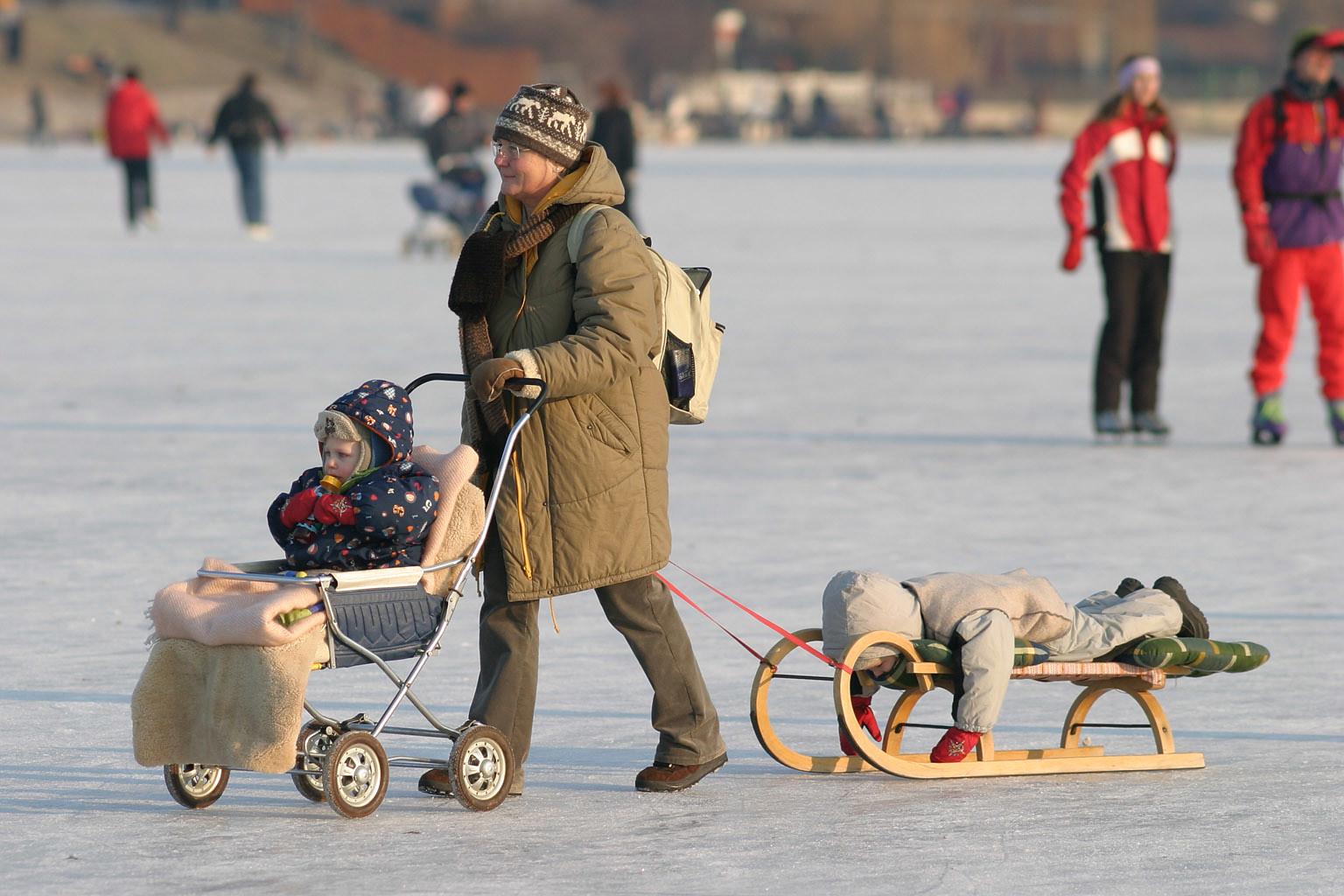 At the frozen Alte Donau, Vienna