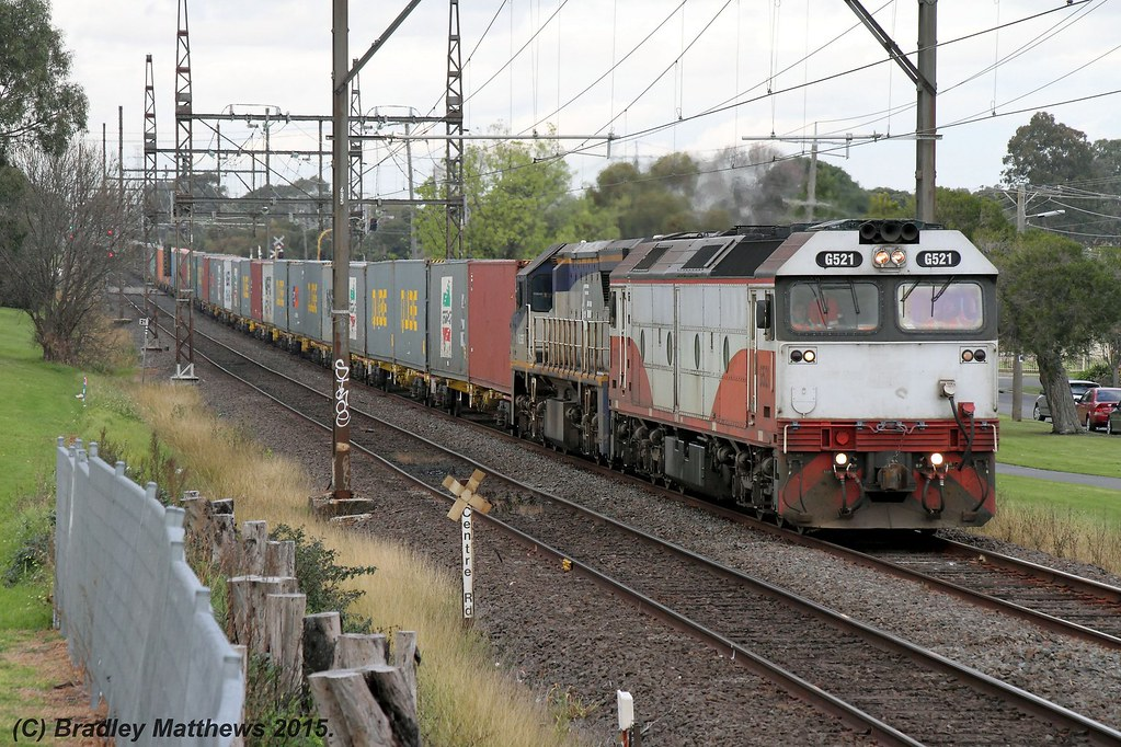 G521-VL362 with 9476 up Qube Maryvale (APM) paper train at Clayton (15/7/2015) by Bradley Matthews