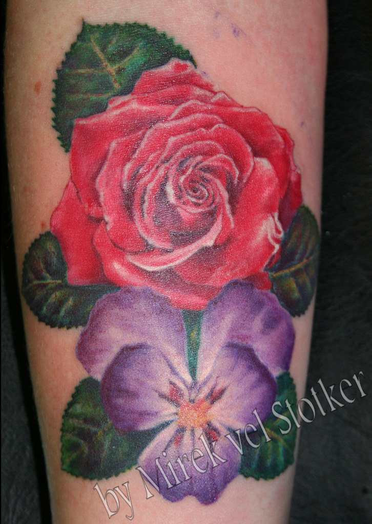 Rose And Violet Flowers Tattoo By Mirek Vel Stotker Flickr