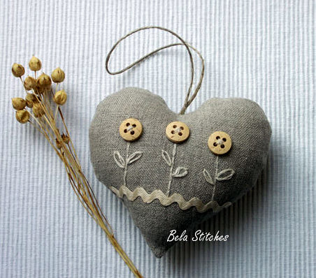 linen pincushion | by Bela Stitches