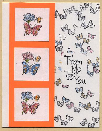 Rubberstamp butterflies card