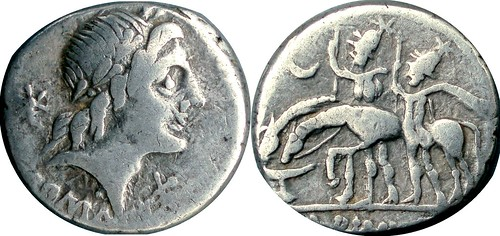 335/10 #0967-36 A.ALBINVS Apollo Dioscuri stand by drinking horses Denarius | by Ahala