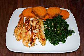 tilapia grilled with asian lime marinade, spinach and sweet potato | by convergingcuisine