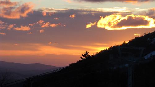 ski mountains sunrise glow maine sundayriver