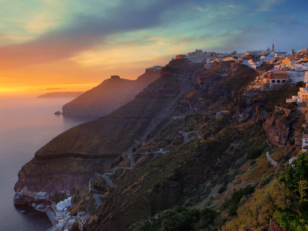 Fira sunset, Santorini, Greece