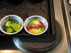 crayons - made from melting other crayons, in the oven cooling after just being taken out of the oven