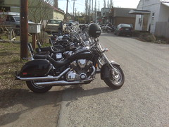 My motorcycle near the Longhorn in Edison, WA. by rrchapman