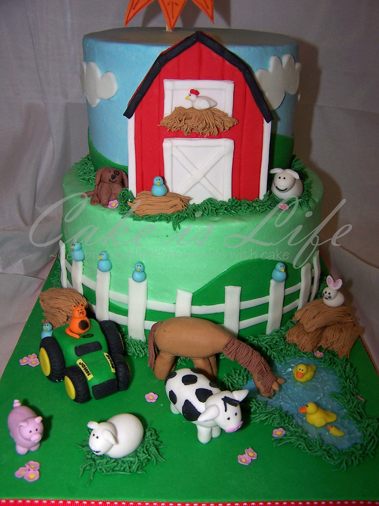 Enjoyable Close Up Of Farm Themed Birthday Cake 05 2009 This Cake W Flickr Funny Birthday Cards Online Sheoxdamsfinfo