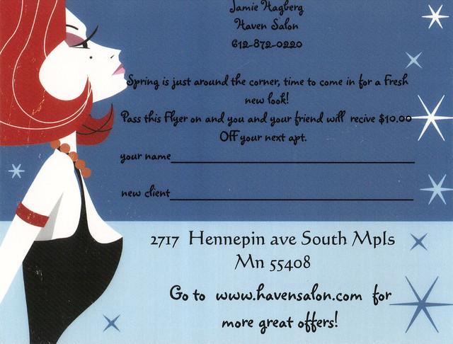 Haven Salon Ad Postcard