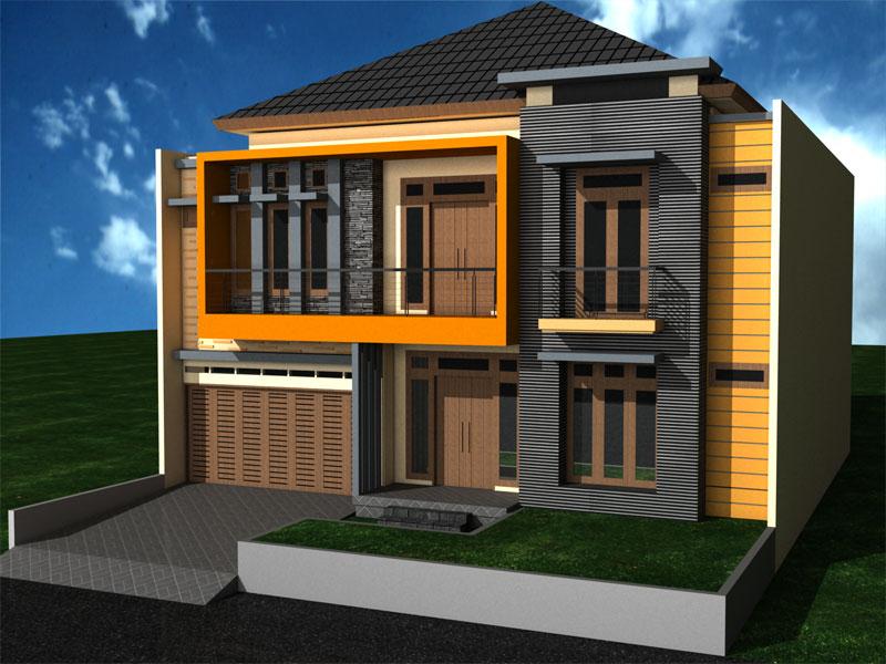 Desain Rumah 2 Lantai Tampak Depan Sekitar Rumah