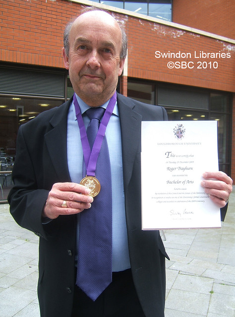 2010: Swindon Local Studies Librarian Roger receives his Honorary B.A.