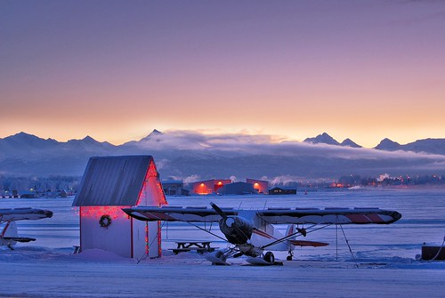 morning winter sky mountain lake snow mountains alaska plane sunrise landscape outdoors nikon flight shed explore anchorage xmaslights pipercub lakehood pa18 flickrchallengewinner d40x selectedbest