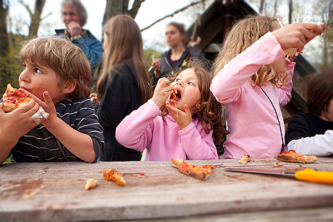 Image result for family eating pizza