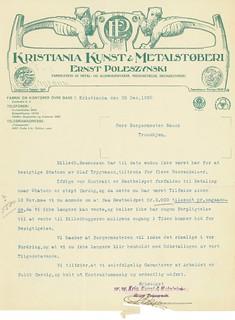 1920.12.28 - Brev til borgermester Bauck fra Kristiania Kunst & Metalstøberi med anmodning om betaling