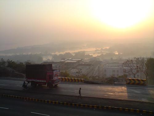 road morning sun india sunrise temple dawn highway view indian earlymorning valley maharashtra roads thane rise mumbai devi mumbra