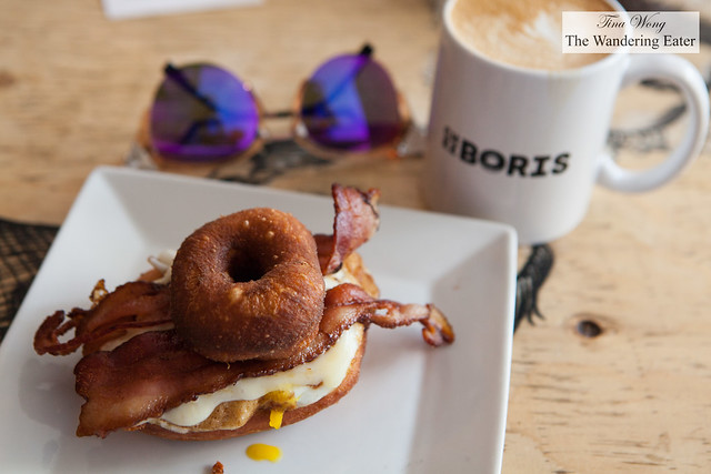 Chez Boris doughnut sandwich and a mug of latte