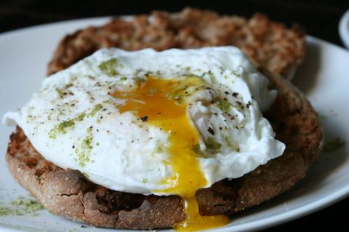 Oozing Egg Yolk from Poached Egg w/ Matcha Salt | by Sunday Nite Dinner