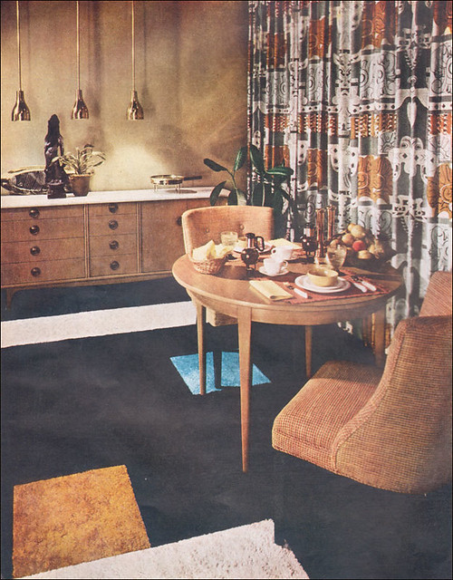 1955 Living Dining Area Carpet Squares Were Used To