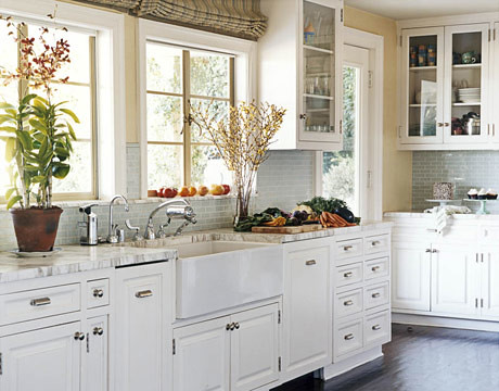 The perfect white kitchen? White cabinets + painted floor + subway tile, by White House decorator Michael Smith