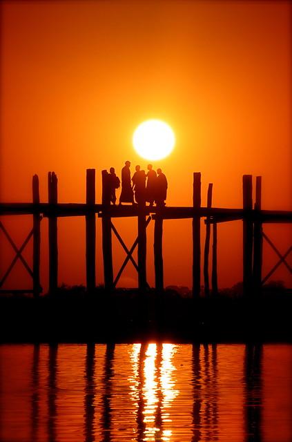 Monks at sunset