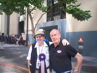 Frank Robinson, Harvey Milk's speechwriter, with columnist Wayne Friday