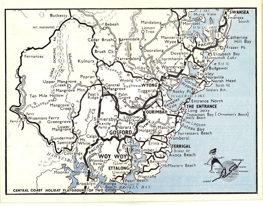 Map Of Central Coast Nsw Central Coast NSW holiday coast map circa 1960s | 1960s map … | Flickr