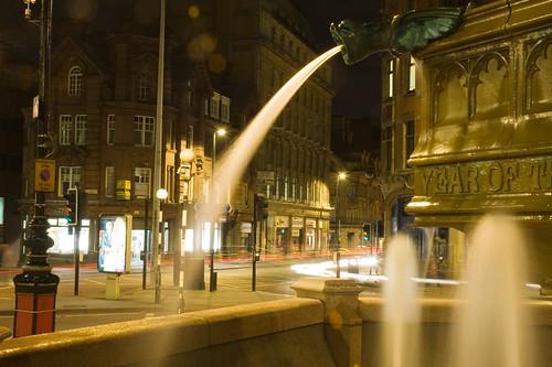 Light Stream Through a Fountain