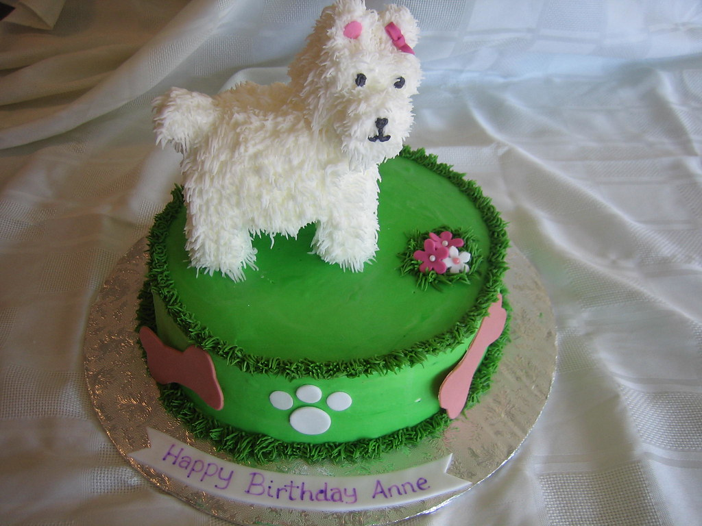 Peachy Dog Birthday Cake Dog Birthday Cake With Fondant Flowers Flickr Personalised Birthday Cards Veneteletsinfo