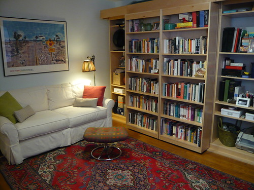 sliding bookcase Murphy bed 1 | From Apartment therapy | Flickr