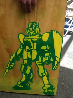 Robot stencil on chair - Section 8 Container Bar   by avlxyz
