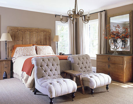 Calm neutrals + orange accents in Belgian-style bedroom | Flickr