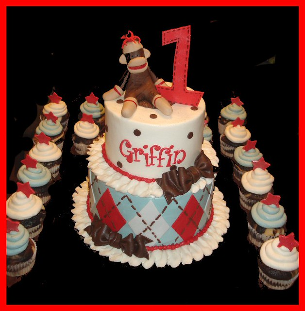 Fantastic Sock Monkey Cake For Griffins 1St Birthday Atasteofwhimsy Flickr Funny Birthday Cards Online Barepcheapnameinfo