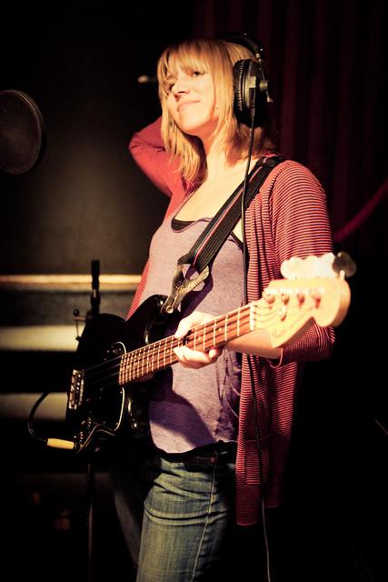 Amanda with bass guitar