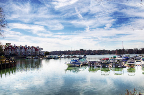 trees sky lake water clouds marina docks photoshop reflections landscape boats harbor pentax charlotte cove northcarolina yachts davidson hdr lakenorman pentaxistdl