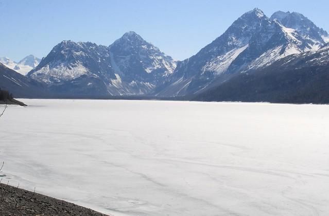 Eklutna Lake still frozen in May