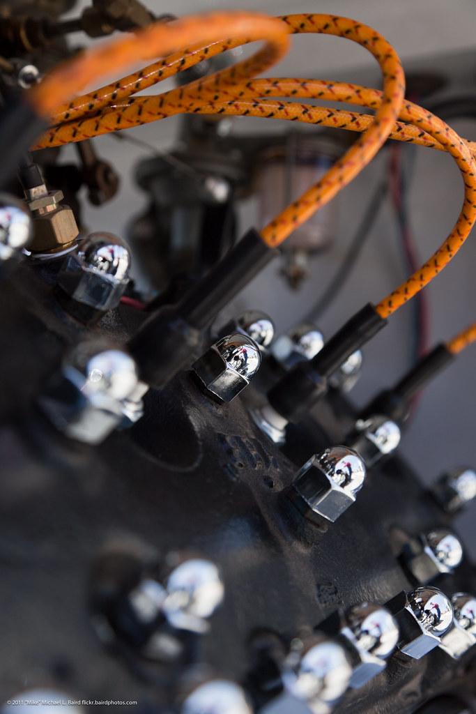 Chrome nuts and orange spark plug wires on flathead engine ... on
