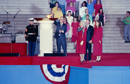 1989 Presidential Inaugration, George H. W. Bush, Opening Ceremonies, at Lincoln Memorial   by Smithsonian Institution
