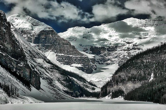 Beautiful Lake Louise In Winter.