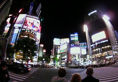 fisheye view of Shibuya crossing