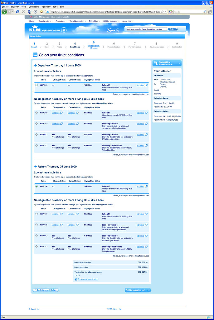 klm booking