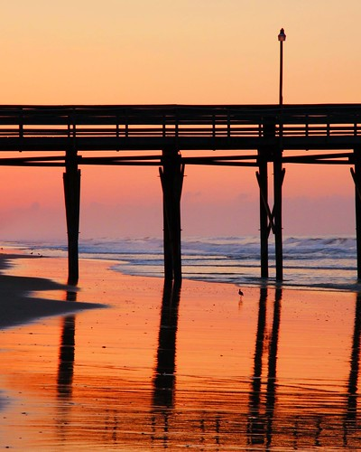 ocean pink red summer sky cloud reflection beach water silhouette canon fire pier purple relaxing wave structure atlantic isle oib 40d
