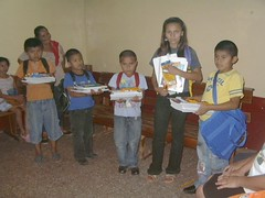 Sponsored kids receiving their school supplies