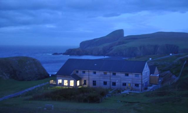 Fair Isle Bird Observatory at dusk
