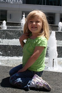 Catie next to (yet another) fountain in downtown Charlotte | by poobou