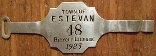ESTEVAN, SASKATCHEWAN 1923 ---BICYCLE LICENSE