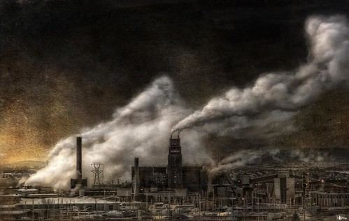 canada factory quebec smoke steam quebeccity textured papermill cs4 industrialpollution ghostworks niksfilters