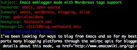 Emacs weblogger.el with WordPress tags support
