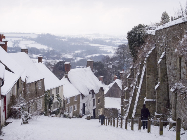 gold hill in snow