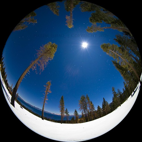 blue trees sky moon white lake snow ski nature water circle stars fun globe nikon colorful tahoe sigma laketahoe fisheye moonlit moonlight stark 8mm soe platinumphoto aplusphoto d700