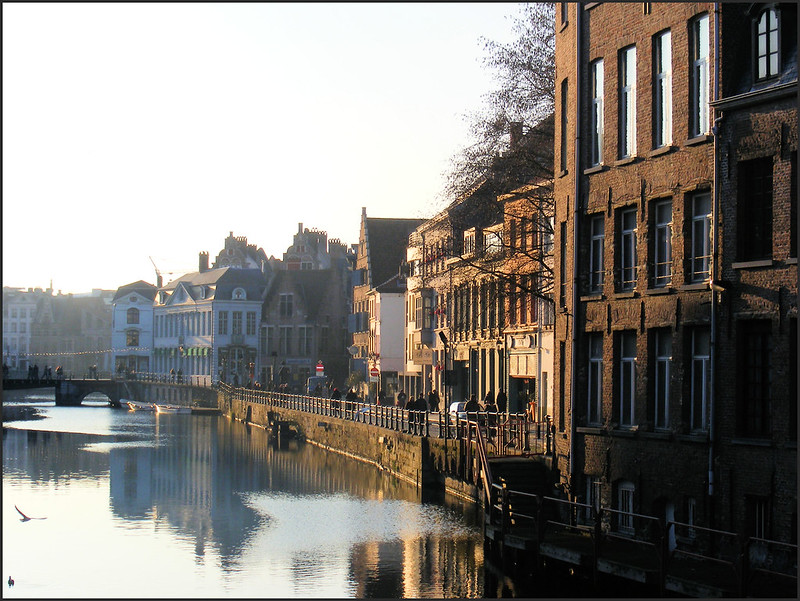evening falls over ghent